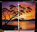 Thermal Insulated Blackout Window Curtain,Country Decor,Picture of an Old Tree Bending Over the River with Mountain Landscape at Sunset,Burnt Orange Purple,Living Room Bedroom Kitchen Cafe Window Drap Amazon deals