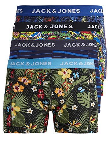 JACK & JONES Boxershorts 4er Pack Mix Trunks Boxer Short Unterhose S,M,L,XL,XXL, Mehrfarbig, L (Bunte Grenzen)