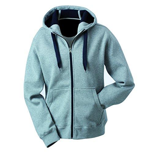 JAMES & NICHOLSON - sweat - veste sportive à capuche - ouverture zippée - intérieur polaire - JN354 - Femme gris sportif - bleu marine