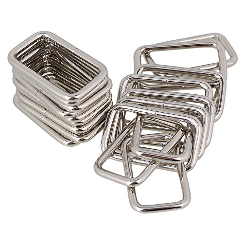 BQLZR 3.8cm Silver Metal Heavy Rectangle Rings for Bags and Accessories Bags 20 Pack