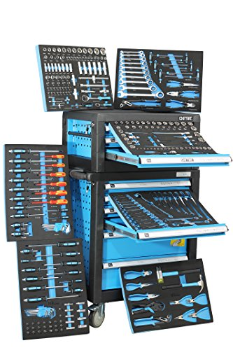 Mit Werkzeugkiste Schubladen (Blue Edition BigBoy | Kombination Werkstattwagen und Werkzeugkiste | 9 Schubladen - 7 gefüllt mit Handwerkzeug)