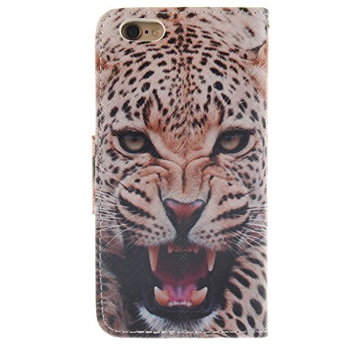 Hülle für iPhone 6 6S, Tasche für iPhone 6 6S, Case Cover für iPhone 6 6S, ISAKEN Malerei Muster Folio PU Leder Flip Cover Brieftasche Geldbörse Wallet Case Ledertasche Handyhülle Tasche Case Schutzhü Leopard Grimmig