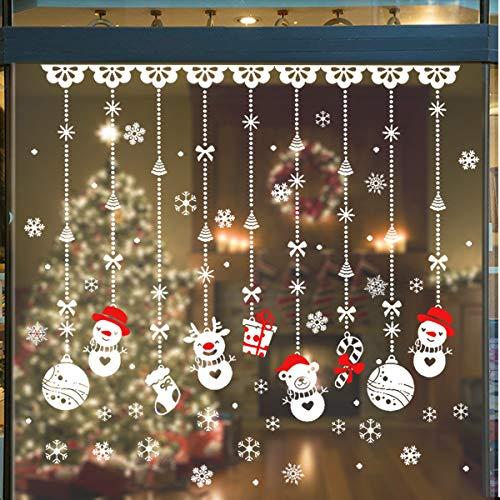 Weeygo adesivi decorativi natalizi 180pcs - adesivo per finestra di natale, rimovibile glueless pvc vetrofanie natale diy adesivi di natale, pupazzo/fiocco di neve per vetrine decorazione