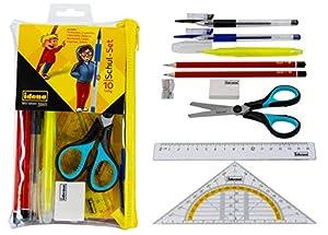 Idena 20094 - Set Escolar con lápices, Regla, bolígrafos de Gel, escuadra, Tijeras y Otros Accesorios (10 Piezas, Ideal para la Escuela y la Universidad)