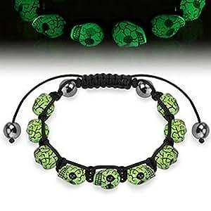 Armband - Bracelet mit Glow in the Dark Skull Beads