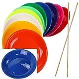 SchwabMarken 20 Jonglierteller BLAU mit Holzstab - Jonglierteller mit Holz- oder Kunststoffstab in vielen verschiedenen Mengen und Farben