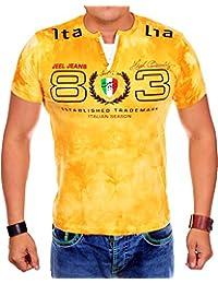 Herren T Shirt V-Neck | T-Shirt für Herren Slim Fit | Washed Shirts für Männer | kurzarm Herrenshirt im verwaschenen Batik Design | Basic Slim fit V-Ausschnitt T-Shirt | sportliche Sommer Shirts 1818