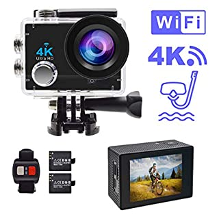 Accfly Action Camera, 4K WiFi Waterproof Sports Camera 170° Wide Angle Lens Action Cam 30M Underwater Camera with 2.4G Remote Control, 2.0'' LCD Screen, 2 Batteries and Mounting Accessories Kits
