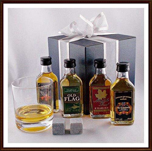 4 Rocks Gläser (Geschenk World Of Whiske(y)s 4 Miniaturen mit Glas & Kühlsteinen, kostenloser Versand)