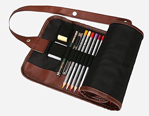 weimay-Canvas-Rand, 36-teilig, Rolle mit Bleistift, Tasche, Reisetasche, Leder, Organizer, Inhaber der Füllfederhalter (Bleistifte sind nicht enthalten) Medium 48 - Roll-up-case Aus Bleistift Leder