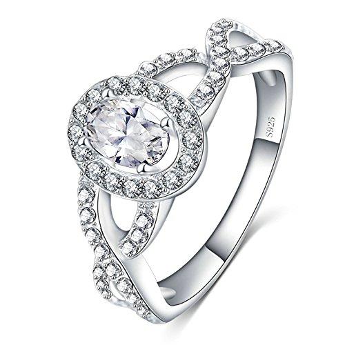Coniea anelli argento sterling anelli oro bianco a fascia anelli donna fedina croce zircone ellittico bianco 10mm taglia 12