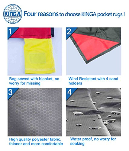Kinga Pocket Camping Blanket Lightweight Water Resistant for Picnic, Beach, Climbing Large Size Suitable for Outdoors…
