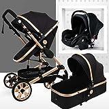 Passeggino 3 in 1 Leggero Reclinabile Sport,Sistema dell'ombrello Passeggino Passeggino da viaggio con Baby Basket Anti-Shock Springs, regolabile Veduta Carrozzina, Passeggino Infant Carriage (nero)