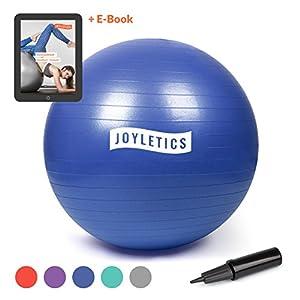 Joyletics® Gymnastikball + e-Book »Training mit Gymnastikball« | Sitzball und Fitnessball für entlastendes Sitzen und EIN vielfältiges Ganzkörpertraining in verschiedenen Größen und Farben + Pumpe