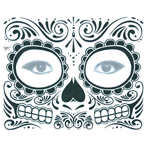 (Arichtop Schädel Langlebige Vollgesichtsmaske Halloween kühle Schönheit Tätowierung wasserdichte Kostüm Make-up Cosplay Aufkleber)