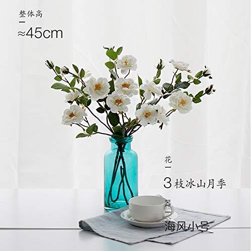 (SER ITYHTR Dekoration Home Simple Transparent Blau Glas Vase Grün Wasser Hydroponisch Vase Tischdekoration Meeresbrise [Paket: Trompete + Eisberg Rose])
