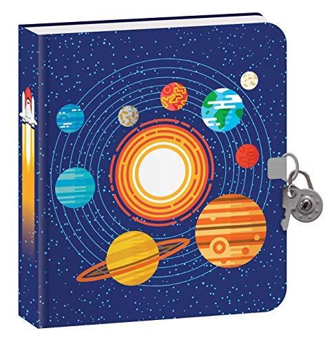 Playhouse Outer Space Tagebuch für Kinder, leuchtet im Dunkeln mit Schloss und Schlüssel, liniert