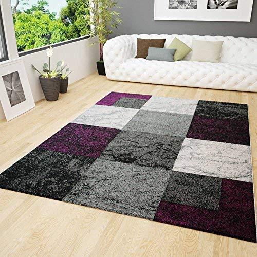 Wohnzimmer Teppich Modern Design Schwarz Lila Grau Marmor Stein Optik Velours Kariert 120x170 cm - Lila Und Schwarz Teppich