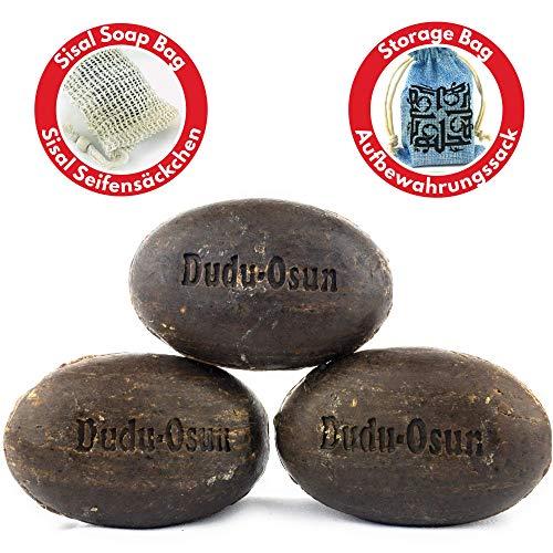 Dudu Osun Schwarze Seife (afrikanisch) 3x 150 gr + Sisal Seifensäckchen + Aufbewahrungssack   Duschseife, Festes Shampoo