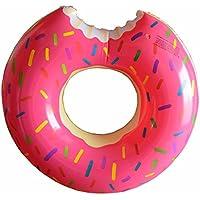 Flotador para la piscina o la playa, flotador hinchable para el verano, para adultos y niños, con bonito diseño, de 60 a 120 cm, divertido, para jugar, neumático inflable, rosa, 60 cm