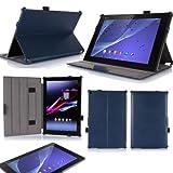 Ultra Slim Tasche Leder Style Sony Xperia Z2 Tablet Blau 16 Go/32 Go (Wifi/3G/LTE/4G) Hülle Cover mit Stand - Zubehör Etui Tablet PC 10.1 Zoll Sony Xperia Z2 Tablet Schutzhülle (PU Leder, Blau Blue)