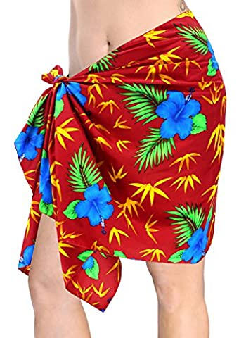 Kurz Sarong Bademode Wickelrock Mini coverup Badeanzug Badeanzug Frauen rot (Mini Wrap Around Wrap)