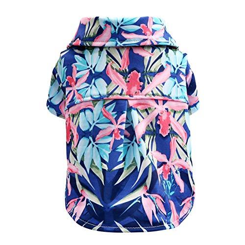 Hundeshirt Hawaiian Shirt Modisch Atmungsaktiv Lässig im Frühling und Sommer für kleine und mittlere Katzen und Hunde,S -