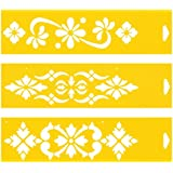 Set of 3 - 30cm x 8cm Reusable Flexible Plastic Stencils for Cake Design Decorating Wall Home Furniture Fabric Canvas Decorations Airbrush Drawing Drafting Template - Flowers Floral Ornaments