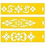 (Satz von 3) 30cm x 8cm Flexibel Kunststoff Universal Schablone - Textil Kuchen Wand Airbrush Möbel Dekor Dekorative Muster Torte Design Technisches Zeichnen Zeichenschablone Wandschablone Kuchenschablone - Blumen Ornamente
