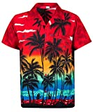 V.H.O. Funky Hawaiihemd, Kurzarm, Beach, rot, 4XL