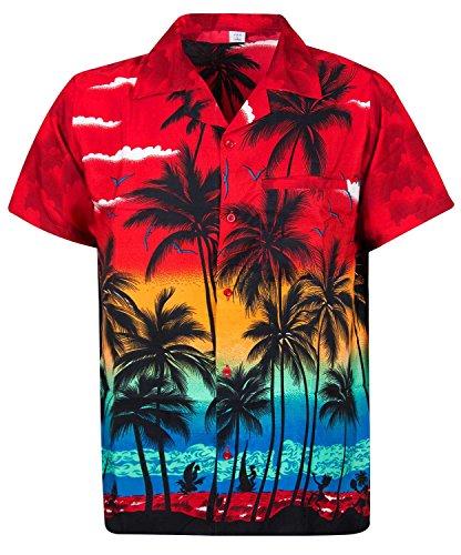Original king kameha | funky hawaii camicia | uomo | xs–6x l | breve braccio | front della stampa del | hawaii | spiaggia palme mare | rosso rot xx-large