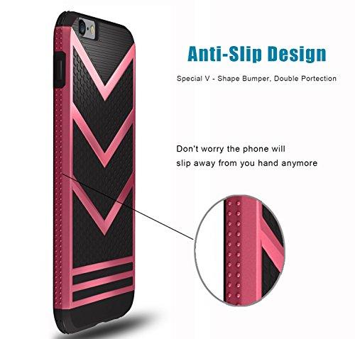 iPhone 6S Case, Pasonomi® Schutzhülle iPhone 6 Hülle Ultra dünne Defender Silikon Case Bumper Handy Tasche Etui Back Cover Schale für Apple iPhone 6/6S (4,7 Zoll) (Schwarz / Silber) Schwarz / Hot Pink