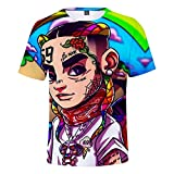 WYDHHLD Unisex 3D Printed T-Shirts 6ix9ine Rap Hip Hop Kurzarm Sommer Casual für Männer Frauen,A,XXL
