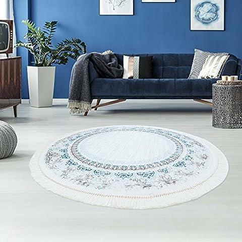 Druck-Teppich Flachflor Polyester Waschbar Klassisch Ornamente Mäander blau creme 150x150 cm rund
