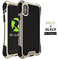 iPhone x case 360 ° Vollschutz, Licht, Staub, Fallschutz, mit gehärtetem Glas (Goldschwarz)