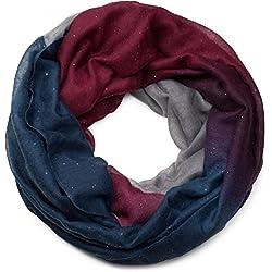 styleBREAKER belle écharpe snood brillante avec un dégradé de couleur, écharpe à paillettes, paillettes, écharpe, toile, pour femmes 01017033, couleur:Bordeaux-Rouge-Pourpre-Bleu foncé-Vert