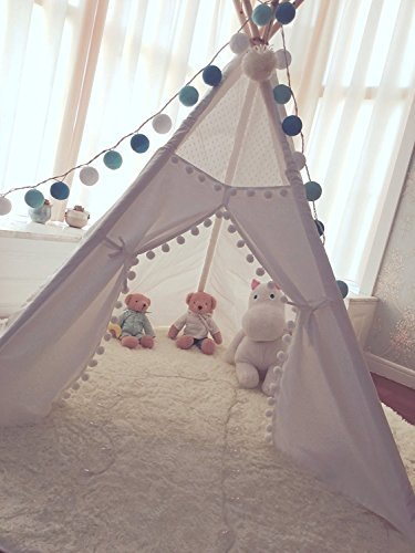 HAN-MM Princess Indian Teepee Tent Children Kids Tipi Kids Playhouse Play Room Wedding Party Top Lace Style -