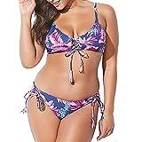 Yvelands Damen Bikini Bademode Solid Badeanzug für Damen Zweiteiliger gefüllter BH Bademode Beachwear(CN-4XL,Lila)