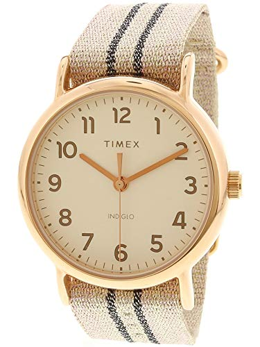 Timex Women's Weekender TW2R92100 Rose-Gold Nylon Japanese Automatic Fashion Watch (Womens Watch Gold Timex)