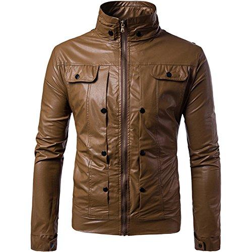 BBring Herren PU Lederjacke, Mode Herbst & Winter Stehkragen Biker Motorrad Reißverschluss Outwear Warm Mantel (XL, Schwarz)