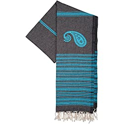 Fouta | Toalla hammam 'Biarritz' | toalla de baño liviana | En negro con rayas de color turquesa |100x190 cm | 100 % algodón de excelente calidad | diseño exclusivo de ZusenZomer (Negro y Turquesa)
