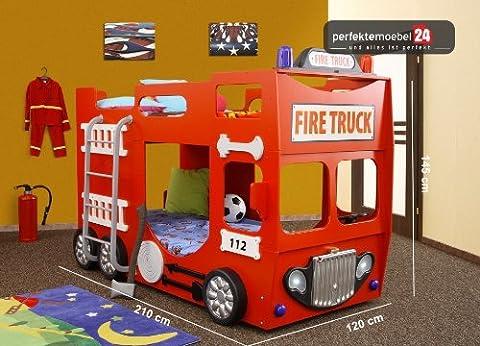 PM_FTD07 Bett Fire Truck Feuerwehr Autobett Kinderbett Feuerwehrwagen Spielbett inkl. 2x Lattenroste, 2x Matratzen und