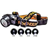 PATHFINDER 21 LED Headlamp Headlight - Lightweight, Comfortable and Weatherproof Flash Light/Torch - Water Resistant Safety Head Lamp - 4 User-Friendly Modes of Operation - Garage Workshop Garden Head lamp, Head Torch for Biking, Cycling, Climbing, Camping, Dog Walking, Hiking, Fishing, Night Reading, Riding, Running and other Outdoor and Indoor Activities - Adjustable Head Strap - 135 Degrees Adjustable Beam Angle - 100,000 Hours LED lifetime (in RETAIL PACKAGING) - BLACK