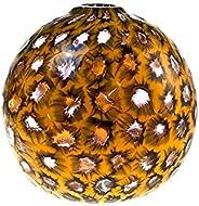 Vaso in Vetro Originale Murano, Vaso Rotondo Arancione E Trasparente, Vaso Italiano Artigianale, Idea Regalo,