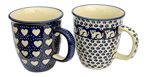 hand-decorated-polish-pottery-manu-faktura-set-k-081kot6sem-cup-pack-of-2mars-90cm-cobalt-blue-2unit