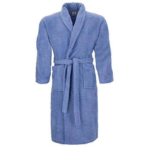 Burrito Blanco Albornoz de Ducha Liso para Hombre y Mujer con Cuello de Esmoquin Talla XL, Azul