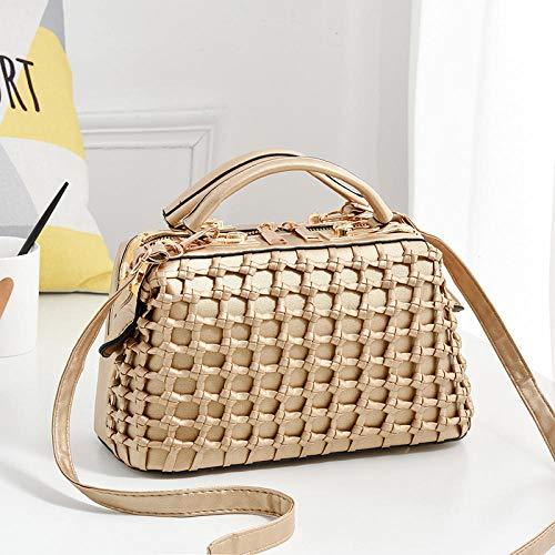 Fyyzg Mode Damen Handtasche Flut Reine Farbe Stahlclip Handtasche - Gold
