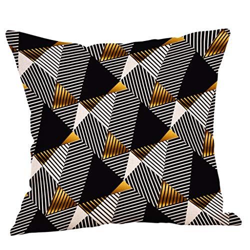 Xmiral Kissenbezüge 45cmx45cm Leinenmischung Gold Geometrische Drucken Kissenhüllen Quadratischer Sofakissen Kopfkissenbezug Versteckter Reißverschluss(D)
