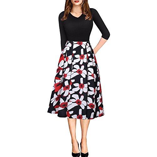 Lrud Damen 1950s Vintage Elegant 3/4-Ärmel V-Ausschnitt Tasche Floral Ausgestellt Rock Midi-Kleid PartyKleid (Plissee-mini-rock Machen)