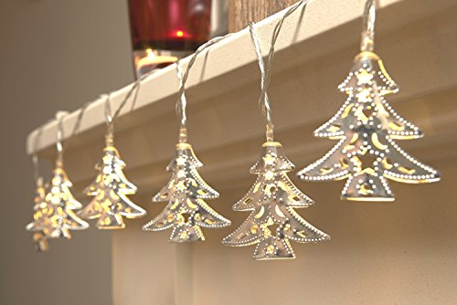 Set of 15 Battery Operated Indoor Christmas LED Festive String Lights - Xmas Trees